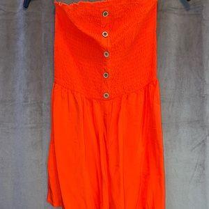 Brand New Strapless Orange Romper